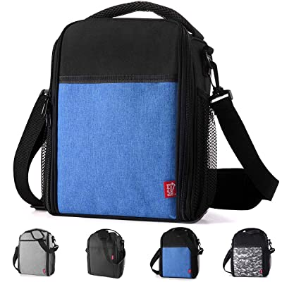 Lunch Bag for Men Women Yookeehome Durable Insulated Lunch Box with Adjustable Strap with Drinks Holder (Blue) Practical Gift Idea: Kitchen & Dining