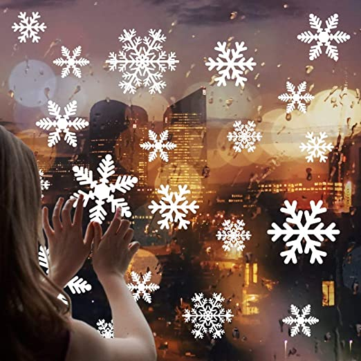 home office decor ideas.htm amazon com 87pcs multi size snowflake window clings decals window  amazon com 87pcs multi size snowflake