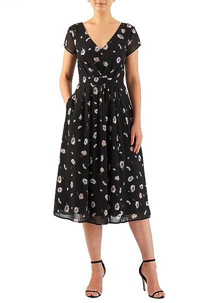 e646219461e eShakti Women s Daisy print pleated georgette dress 5X-32W Short Black white  beige
