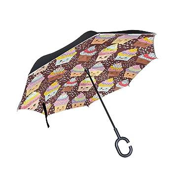 jstel doble capa puede Cupcake Kawaii Funny paraguas coches Reverse resistente al viento lluvia paraguas para