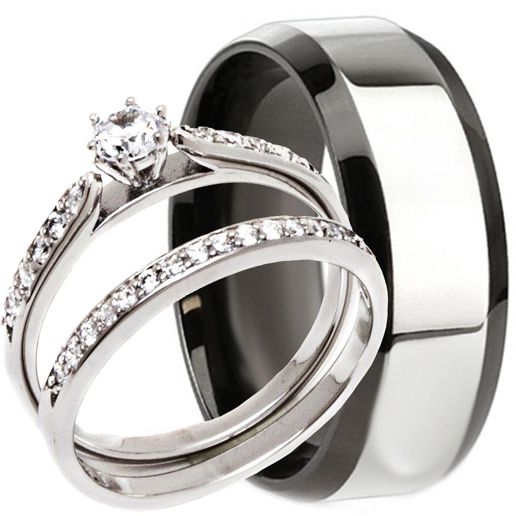 NYCJewelrydesign 3 Pieces Men's and Women's, His & Hers, 925 Genuine Solid Sterling Silver & 2 Tone Black Stainless Steel Engagement Matching Wedding Anniversary Ring Set by NYCJewelrydesign