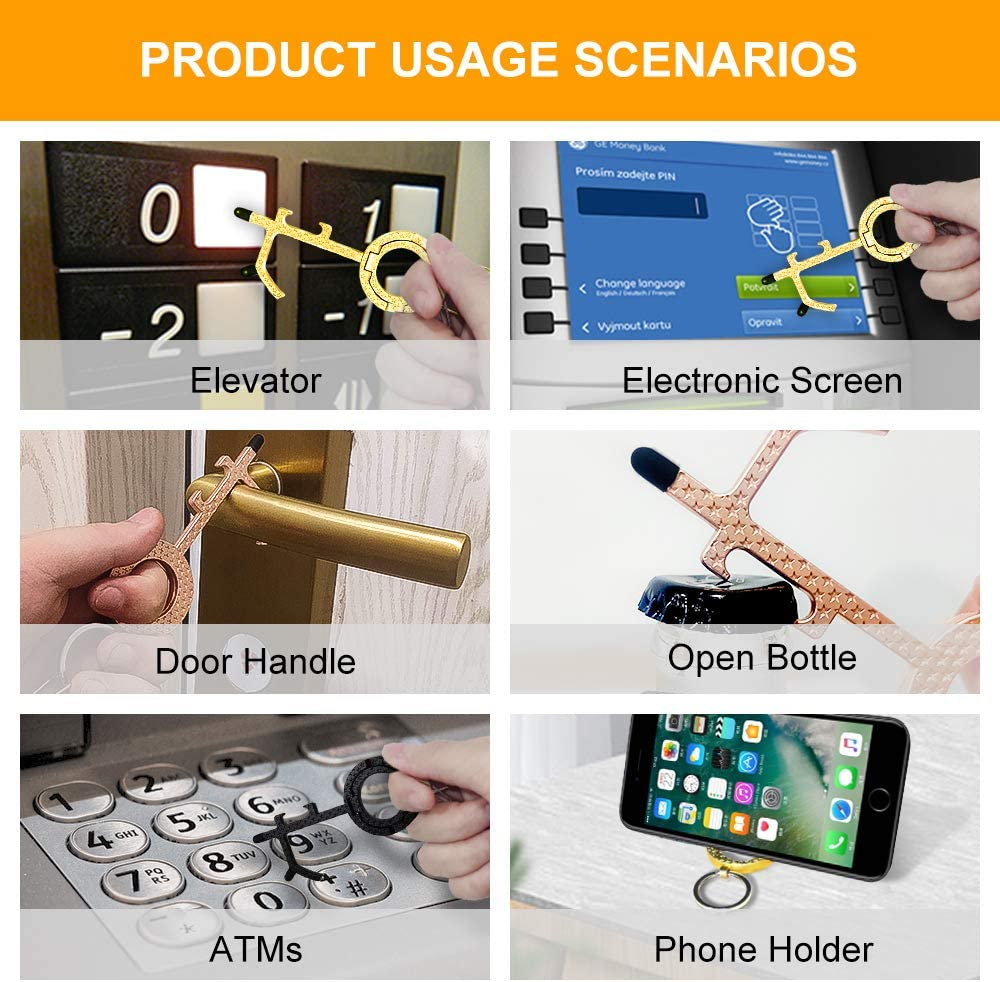 Handles Handheld EDC Keychain Tool Hands Free Keys Safe Touch ...