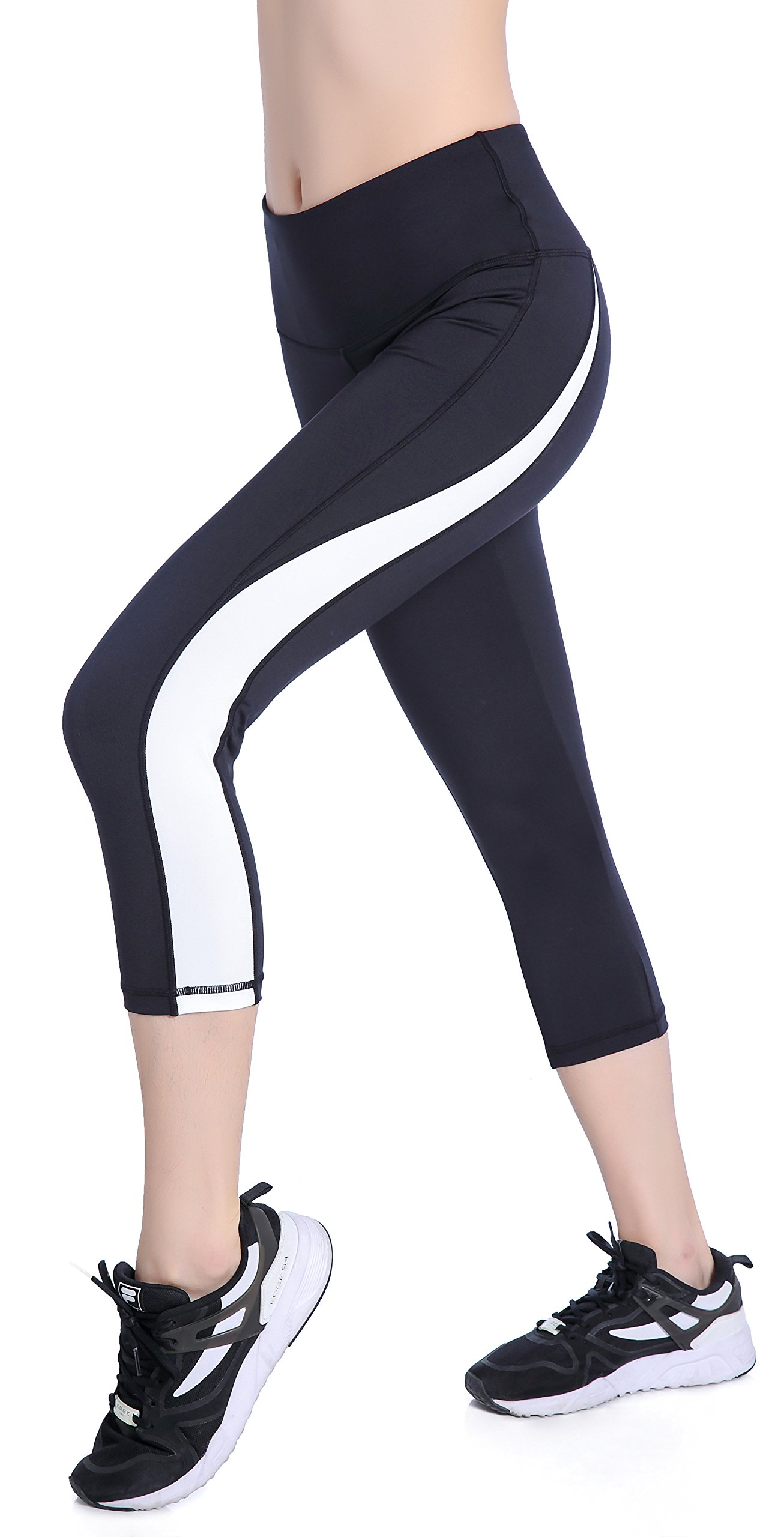 Picotee Women's Yoga Pants Workout Capri Leggings Running Tights w Side Pocket (XL, Black/White)