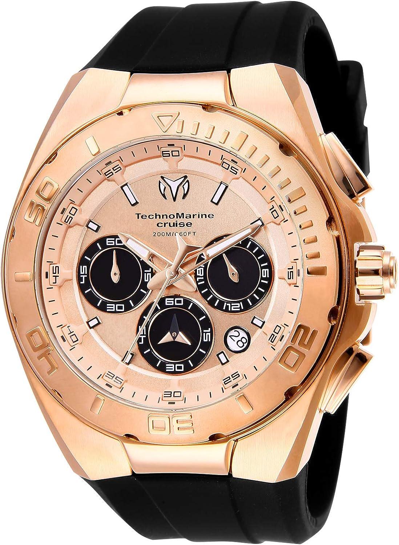 Technomarine Men s Cruise Stainless Steel Quartz Watch with Silicone Strap, Black, 29 Model TM-115346