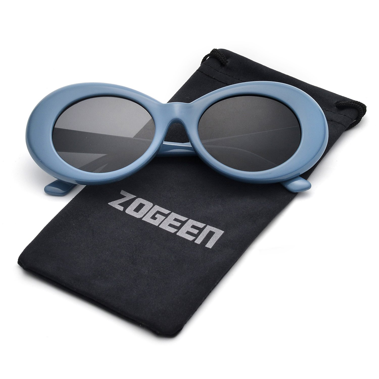 34e51bfa1a8 ZOGEEN Bold Retro Oval Mod Thick Frame Sunglasses Clout Goggles with Round  1212 (Blue Black)