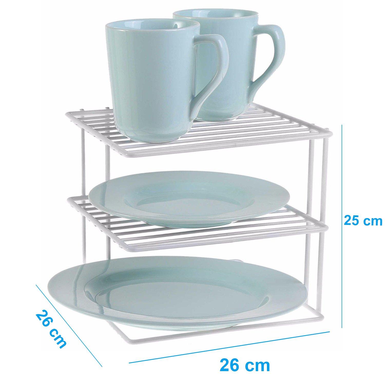 2 Tier Kitchen White Metal Corner Shelf Cabinet Plates Organizer ...