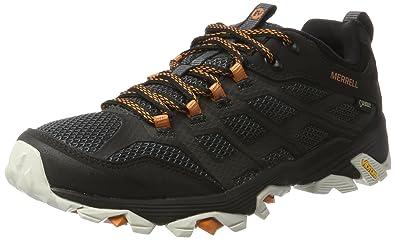 Merrell Moab FST GTX 2, Chaussures de Randonnée Basses Homme, Noir (Noir/Orange), 41.5 EU