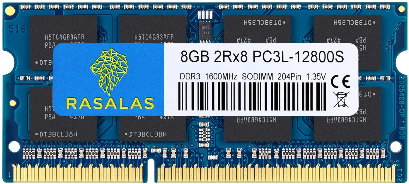 Rasalas 8GB PC3L-12800S DDR3 1600mhz Laptop RAM DDR3L 1600 2Rx8 PC3-12800S 8GB 1.35V 204-Pin CL11 Dual Rank Ram Laptop Chips
