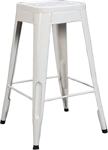 Home Elegance Metal Stool, White, Set of 4