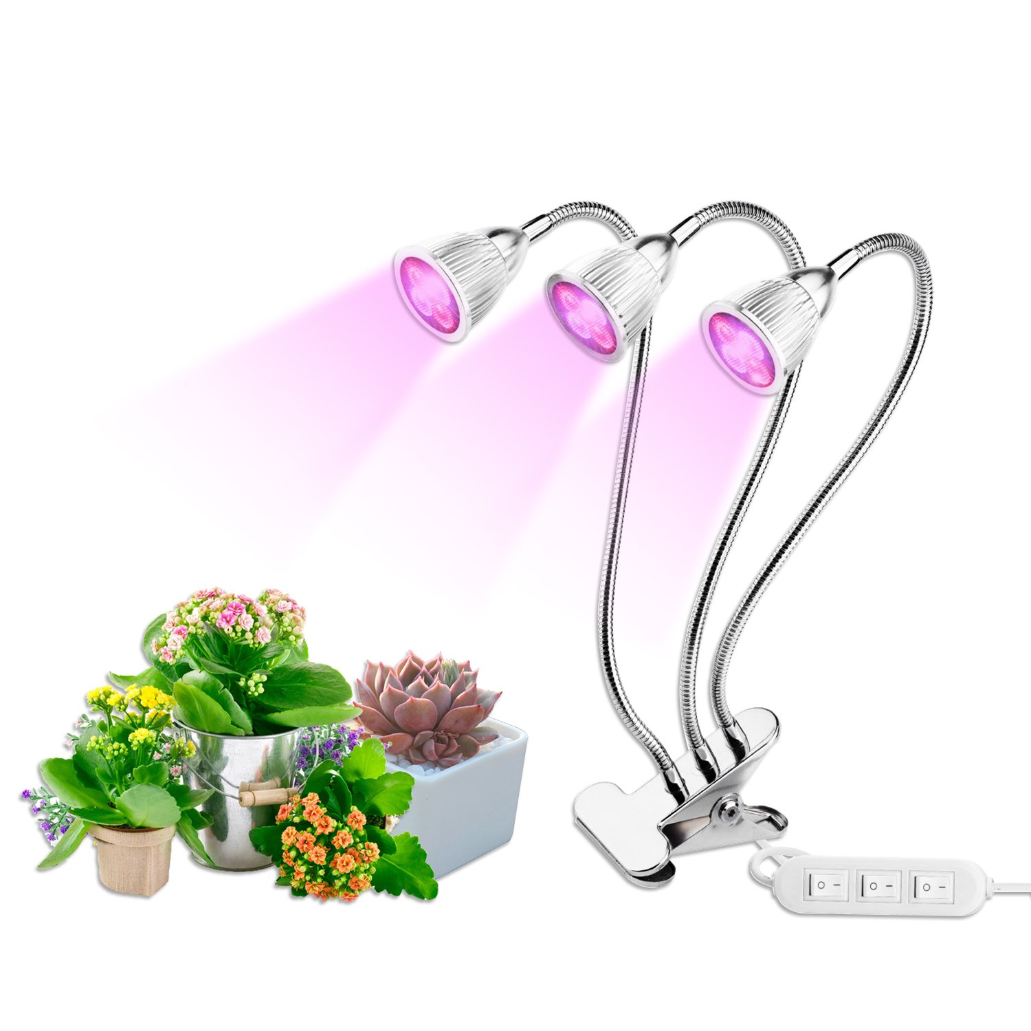 Grow Lights, TGGOUS Grow Lamp Bulbs 15W Three Head with Separate Switch and Adjustable Gooseneck 360 Degree for Indoor Plants Flowers Vegetables Seed Starting Succulents Greenhouse Silver
