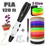 3D Pen with PLA Filament Refills, Balleen.e Upgraded 3D Drawing Printer Printing Pen with 120 ft PLA Refills [3 Glow PLA] for Kids Adults DIY Arts Crafts Model Making, Non-Toxic and LCD Display