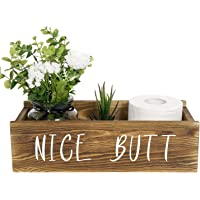 TIMEYARD Nice Butt Bathroom Decor Box, Toilet Paper Holder, Farmhouse Rustic Wood Box Crate Storage Bin, Funny Home Decor for Bathroom Kitchen Table Counter, Brown