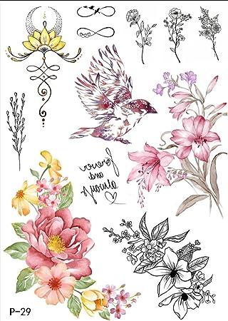 Tattoo Eau Couleurs Fleurs Oiseaux Faux Tatouage A Coller P29