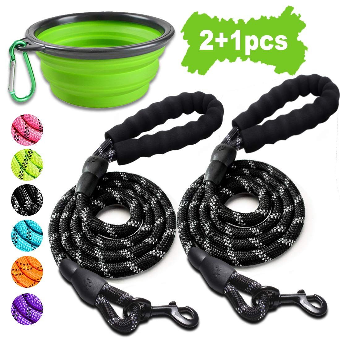 COOYOO 2 Pack Dog Leash 5 FT Heavy Duty – Comfortable Padded Handle – Reflective Dog Leash for Medium Large Dogs with…