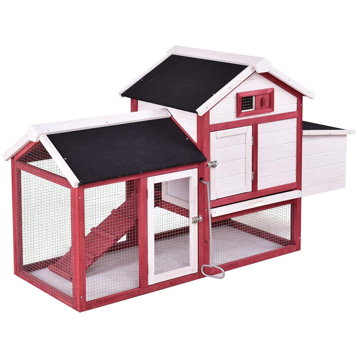 Tangkula 60'' Large Rabbit Hutch Wooden White Rabbit Bunny Outdoor Animal Cage Rabbit Hutch House with Black Linoleum Roof by Tangkula (Image #1)