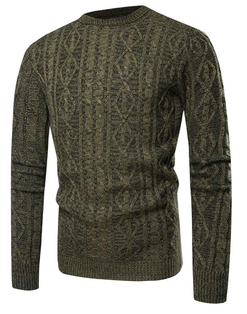 Gocgt Mens Autumn Long Sleeve Crew Neck Pullover Slim Knit Outwear