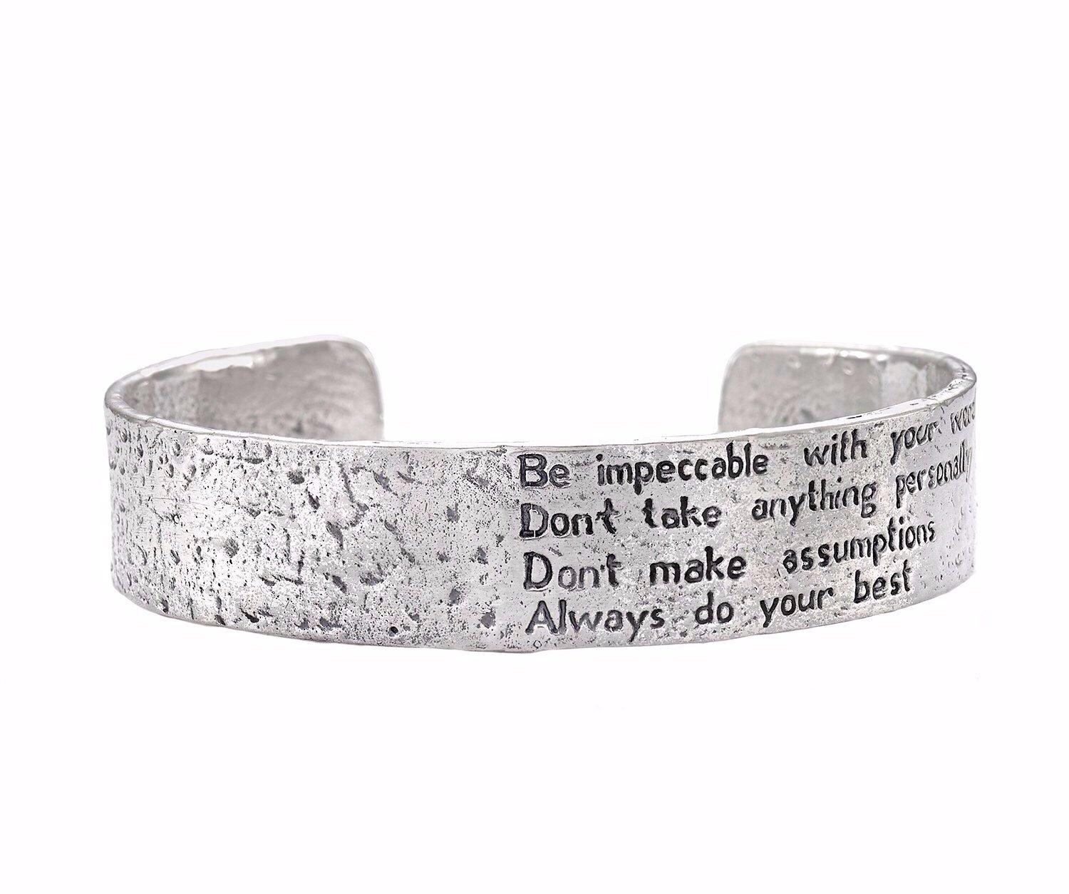 The Four Agreements ''Reminder Cuff'' (sterling-silver, 66 Millimeters)