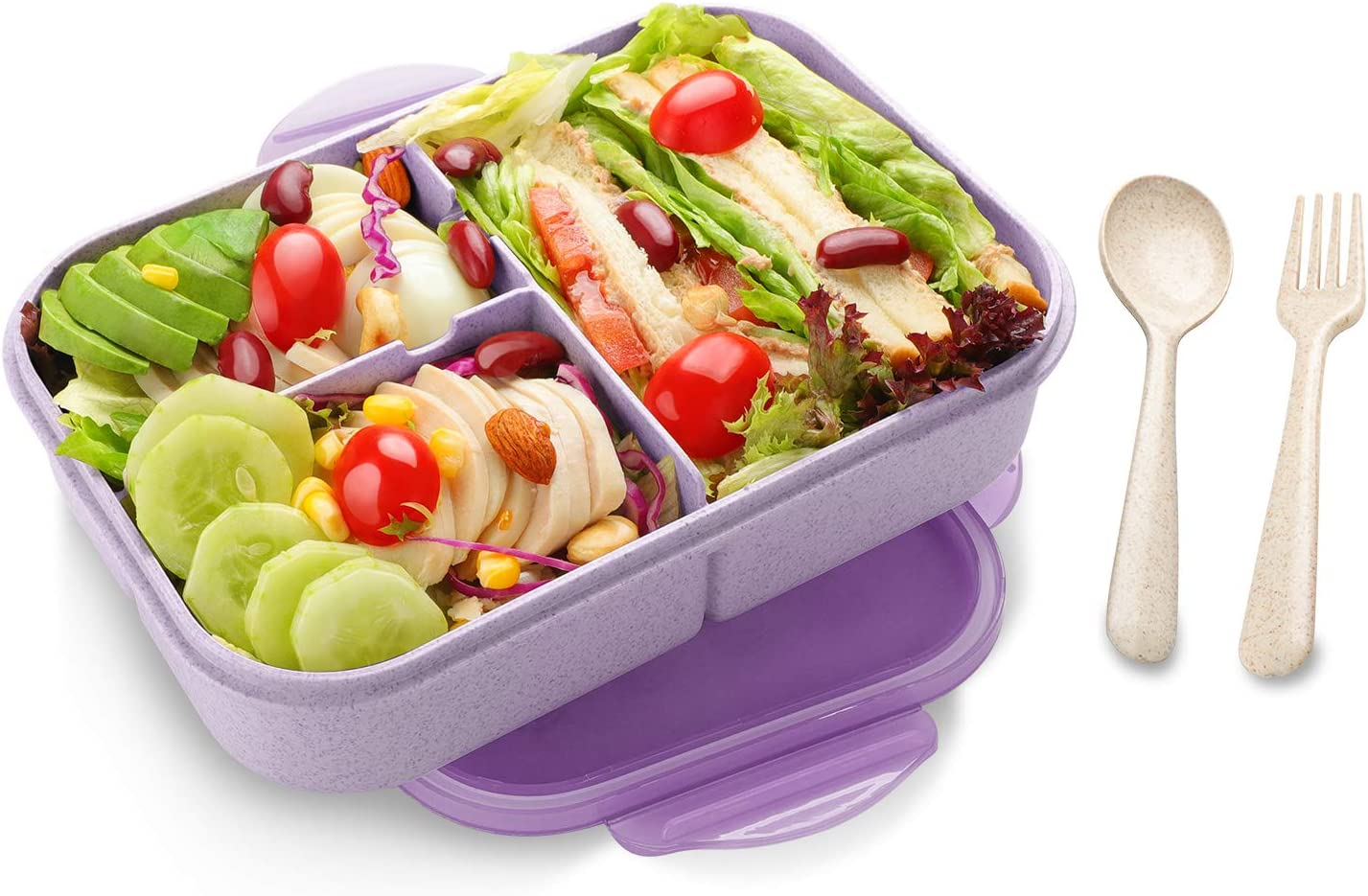 Bento Lunch Box for Kids & Adults, SIPU Leakproof and Shockproof Lunch Containers with Extra 2 silicone Seals, Microwave/Dishwasher Safe, BPA-Free and Food-Safe, Made from Wheat Fiber (Purple)