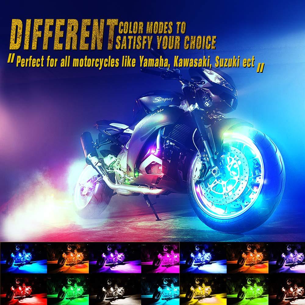 CAR ROVER Motorcycle RGB LED Strip Light Kit Multi-Color Neon w//Remote Controller for ATV UTV Cruiser Harley Davidson Ducati Suzuki Honda Triumph BMW Kawasaki Yamaha Pack of 6