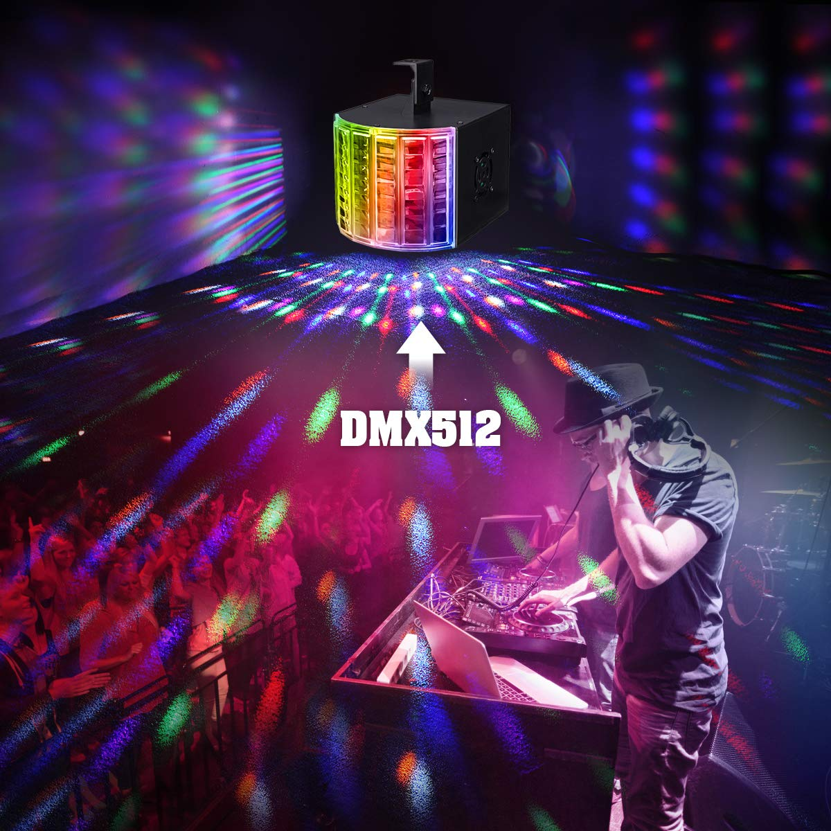 DJ Lights, SOLMORE Party Lights DMX512 Sound Actived Stage Disco Lights with Remote Control for Dance Parties Bar Karaoke Xmas Wedding Show Club 18W by SOLMORE (Image #3)