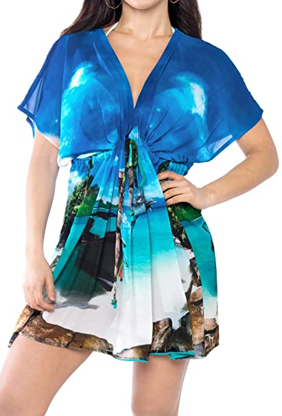 89850de598 LA LEELA Women's Swimwear Plus Size Cover up Kimono Blue_D122 OSFM 14-24 [L