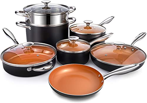 Michelangelo Copper Pots and Pans 12 Piece Set Nonstick