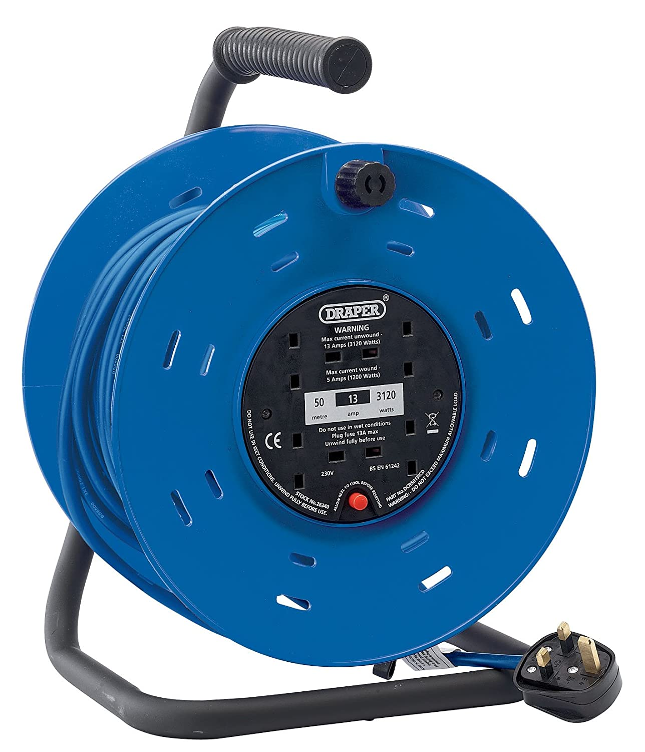 Draper 26342 25M 230V 4-Socket Industrial Cable Reel: Amazon.co.uk ...