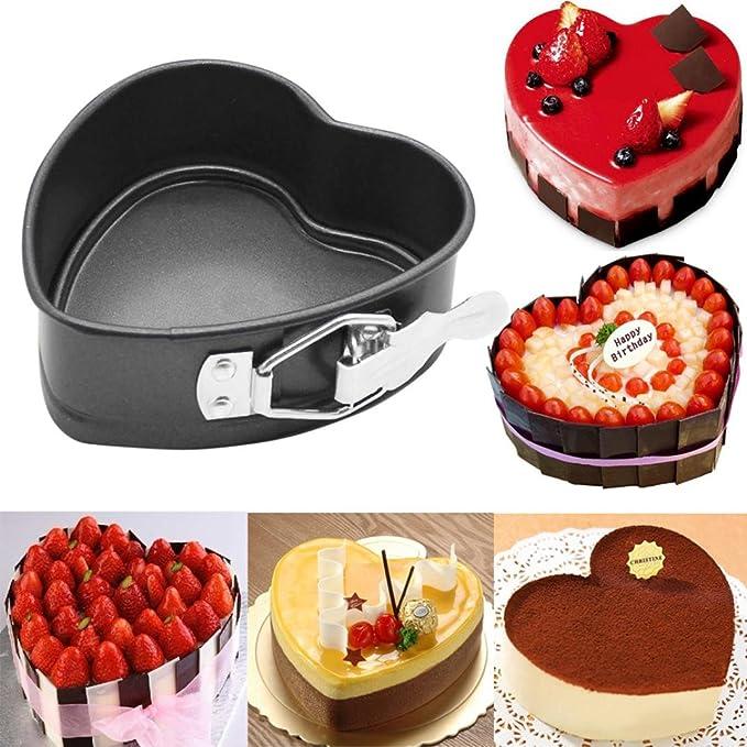 Amazon.com: Gessppo Molde de pastel Heart-Shaped Cake Mould Tin Non Stick Spring Form Loose Base Baking Pan Tray Decorating Bakeware DIY Tool Baking Tool ...