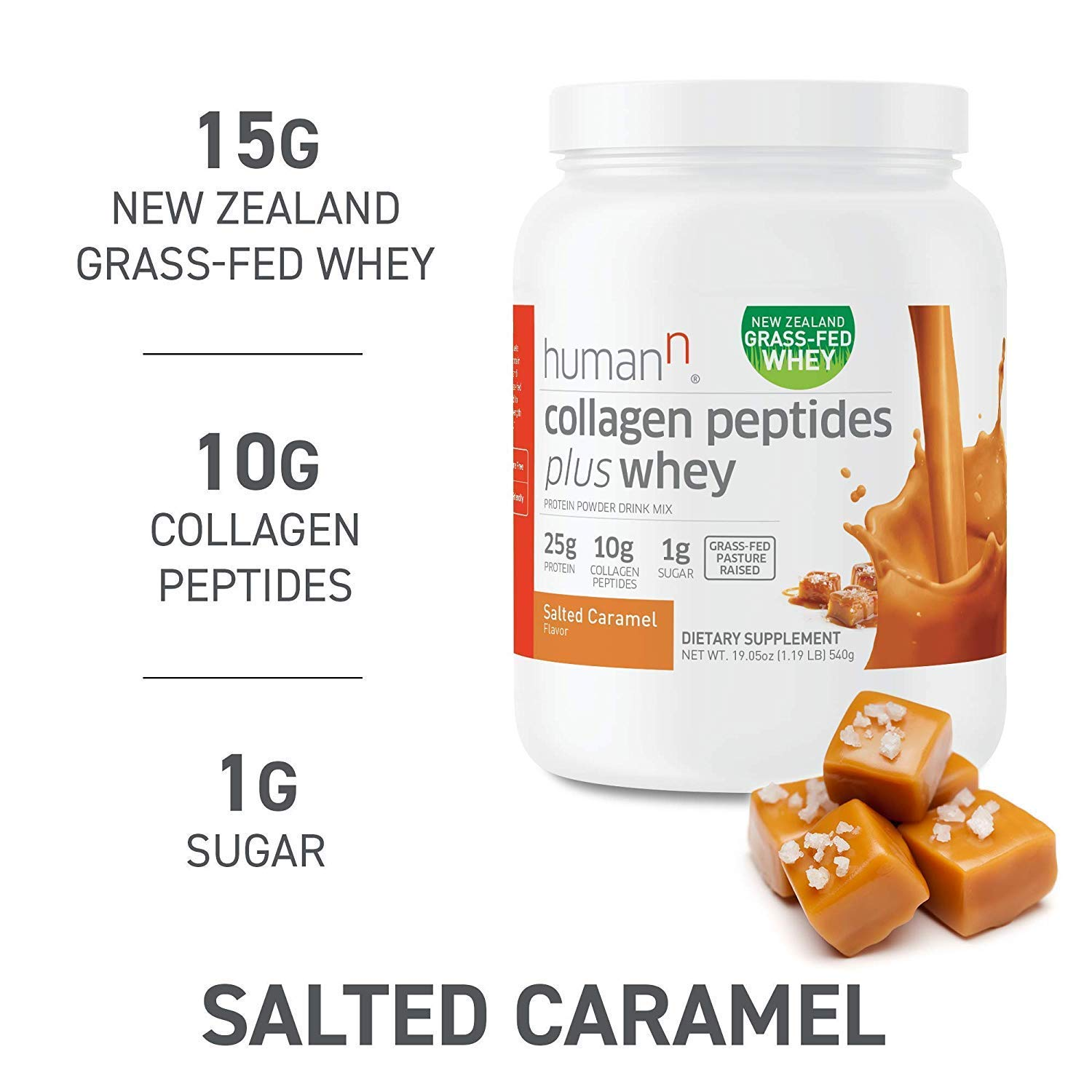HumanN Collagen Peptides Plus Whey Low-Carb, Grass-Fed, Pasture-Raised, 10 Grams of Collagen Peptides Plus 15 Grams of Whey Protein, Gluten Free, Soy Free, Non-GMO, Type I and III Salted Caramel
