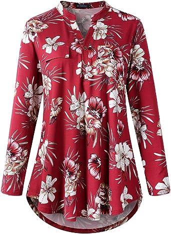 MONNURO Camisas de cuadros Henley con cuello en V para mujer, sueltas y sueltas de manga corta