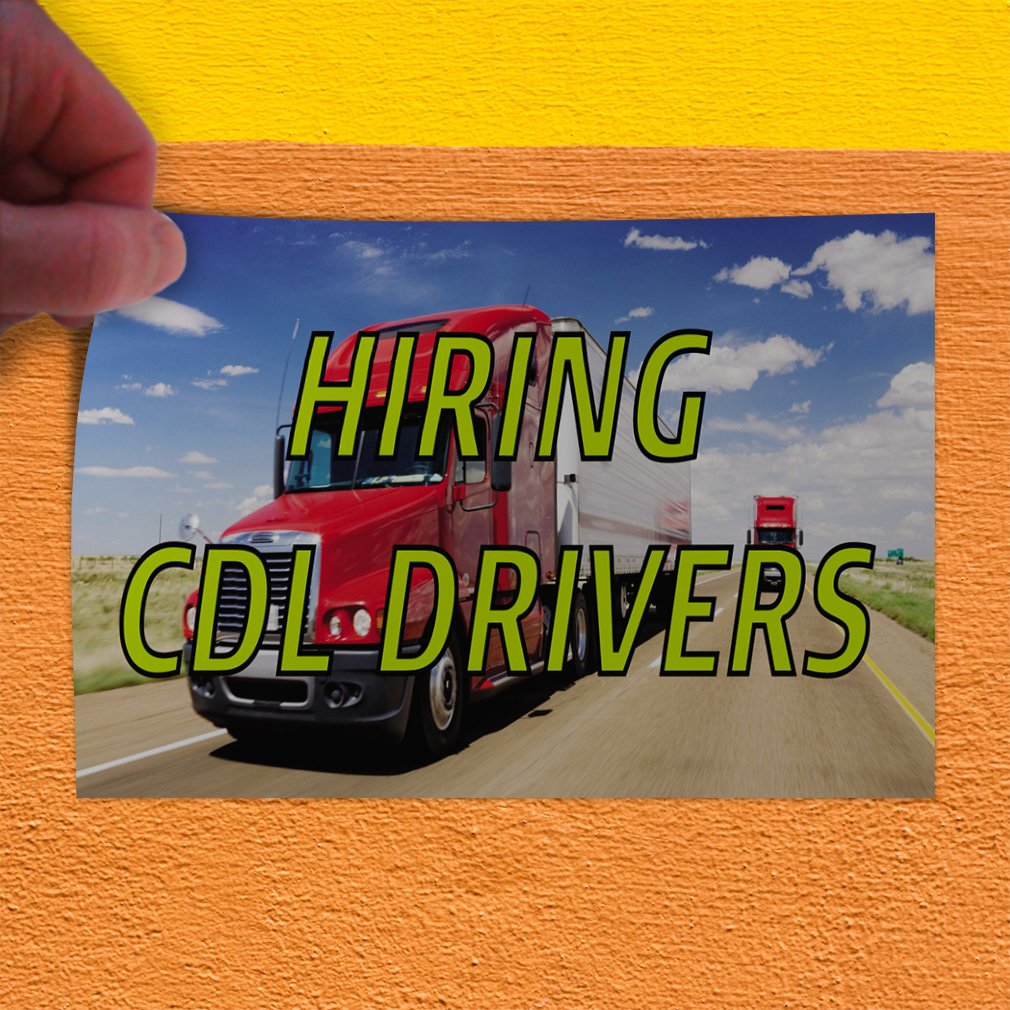 24inx18in Decal Sticker Multiple Sizes Hiring Cdl Drivers Business Hiring cdl Drivers Outdoor Store Sign White Set of 10