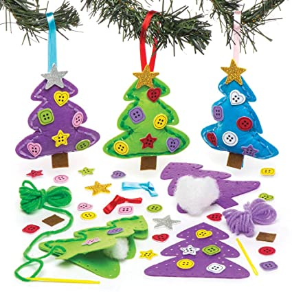 baker ross christmas tree decoration sewing kits pack of 3 for kids christmas crafts - Christmas Tree Decoration Kits