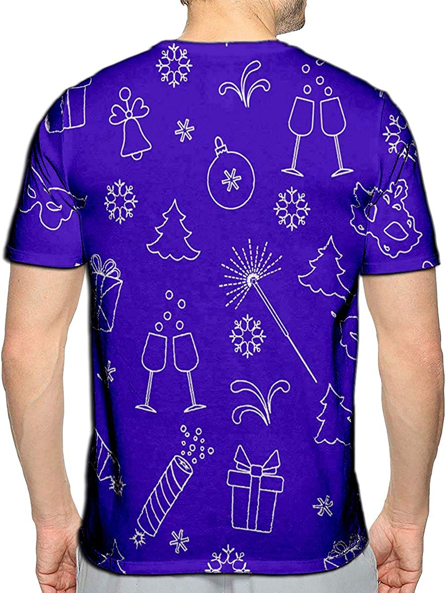 Randell 3D Printed T-Shirts New Year Symbols Gifts Firecrackers Fireworks Bead Glasses C