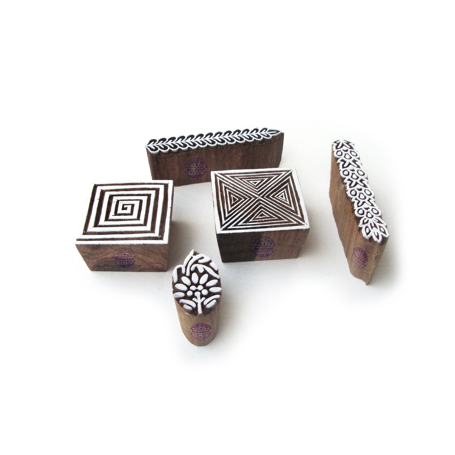 Asian Border and Square Pattern Wooden Printing Blocks (Set of 5)