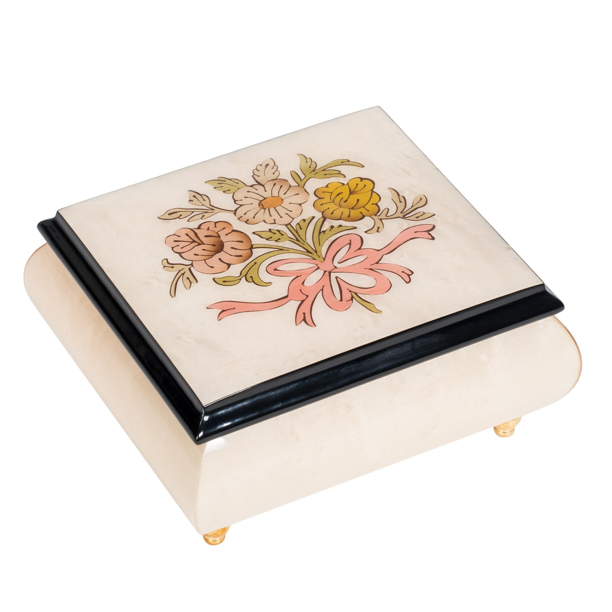 Floral White Italian Hand Crafted Inlaid Wood Jewelry Music Box Plays Canon in D