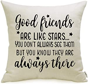Meekio Friendship Gifts Decorative Pillow Covers with Good Friends are Like Star Quote 18