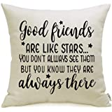 Meekio Friendship Gifts Decorative Pillow Covers with Good Friends are Like Star Quote 18 x 18 inch