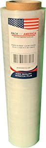 """Pack of America Stretch Film, Hand/Shrink Wrap, Heavy Duty, Moving Supply, Packing Boxes, Ideal for Furniture and Pallet Wrapping (1 Pack, Clear (1100ft, 80 Gauge,3"""" Core))"""