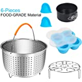6-Pieces Electric Pressure Cooker Accessories Set Compatible with Instant Pot, Pressure King Pro Mini 3 Quart - Steamer Basket, Silicone Egg Bites Molds, Springform Pan, Steamer Rack, 2xMini Mitts