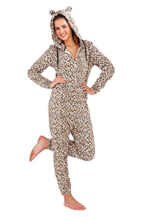 81b45db737 Image Unavailable. Image not available for. Colour  Womens Soft Polar Fleece  Hooded Leopard Print Onesie ...