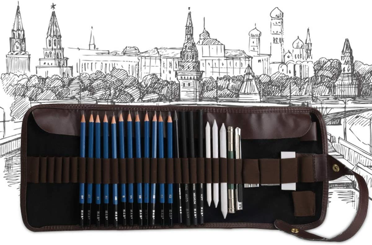 24pcs lápices Kit Completo de Dibujo con Estuche con Cremallera Incluye carboncillos, bocetos de Grafito para Estudiantes Principiantes Principiantes: Amazon.es: Electrónica