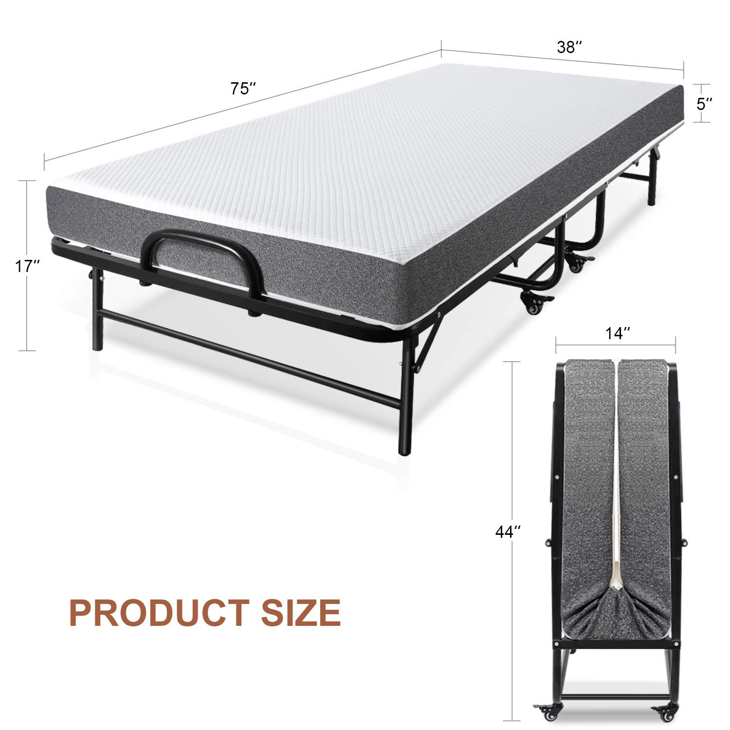 No Tools Required Easy To Assemble Smile Back Folding Bed Rollaway Bed with Mattress for Adults Fold Foldable Guest Beds Portable Beds Twin Size 5 Inch Memory Foam Mattress