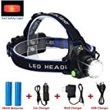 LED Headlamp Flashlight Kit, ANNAN 2000-Lumen Super Bright Headlight with Zoomable Head, Red Safety Light,4 Modes, Waterproof Light for Camping, Biking, 2 Rechargeable 18650 Batteries Included