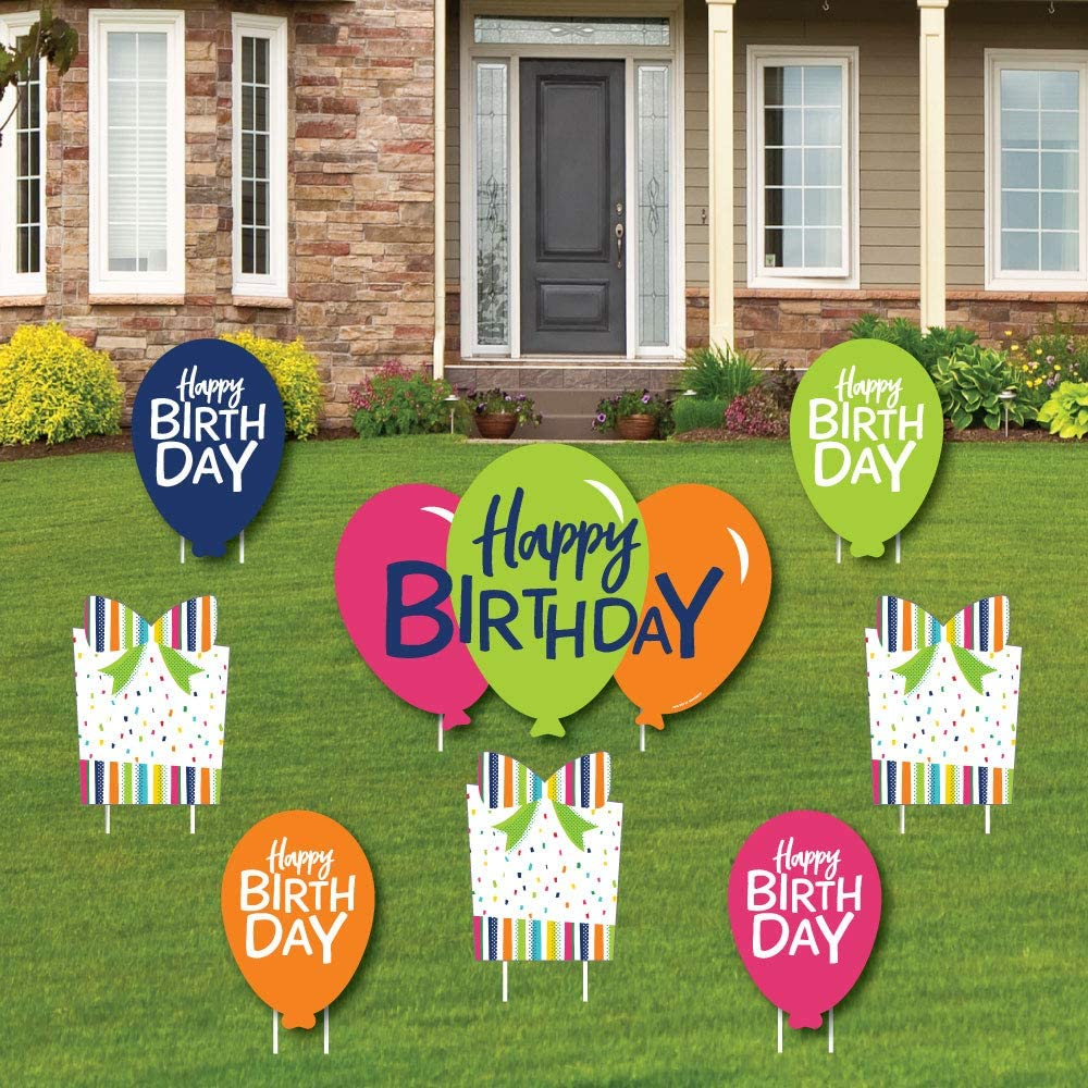 Big Dot of Happiness Cheerful Happy Birthday - Yard Sign and Outdoor Lawn  Decorations - Colorful Birthday Party Yard Signs - Set of 10