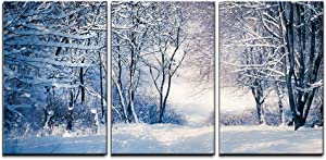 """wall26 - 3 Piece Canvas Wall Art - Winter Landscape in Snow Forest. Alley in Snowy Forest - Modern Home Art Stretched and Framed Ready to Hang - 24""""x36""""x3 Panels"""