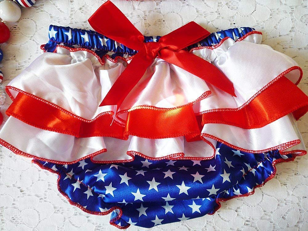 4th of July Satin Baby Bloomers, Toddler Diaper Cover, Cake Smash, Girl's 1st July 4th Shorts, Stars and Stripes Panties, Kids Fashions, USA