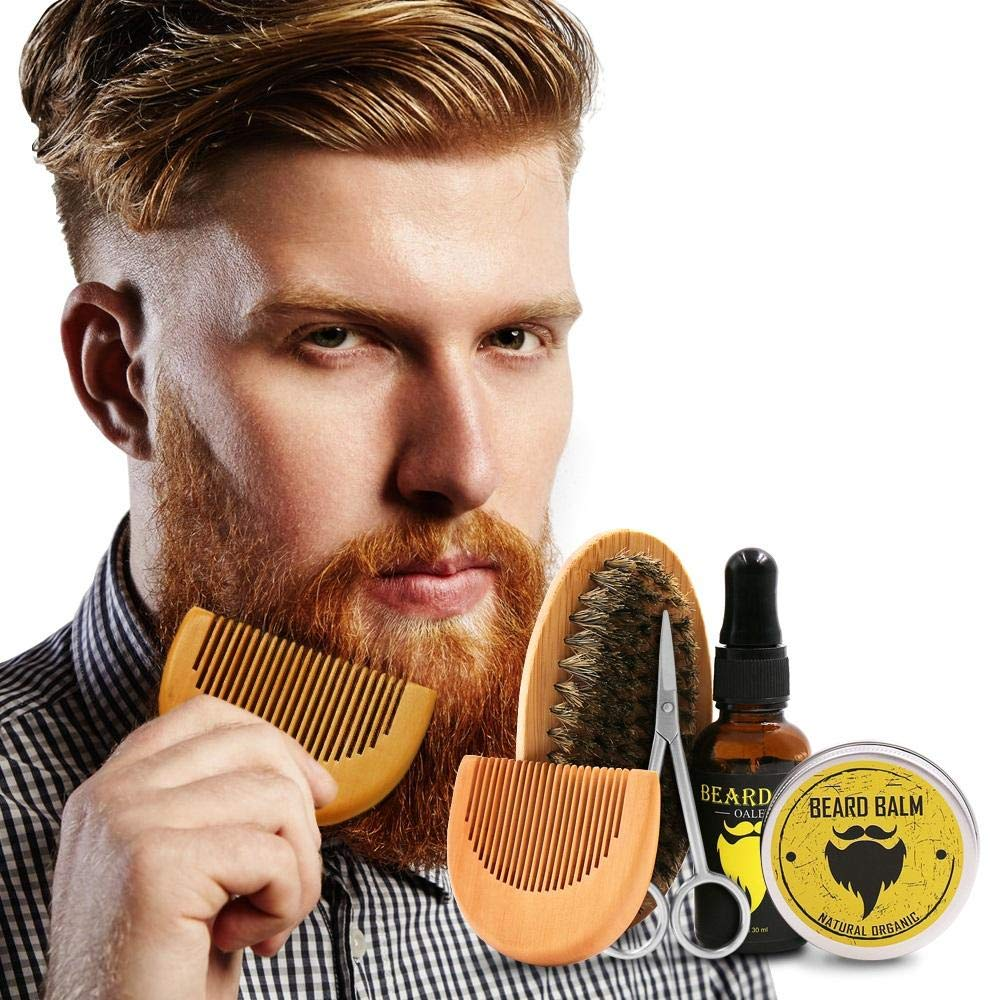 Beard Grooming Trimming Kit Beard Brush Comb, Unscented Beard Oil, Beard Balm Butter Wax, Shaping Growth Set For Men Auxiwa