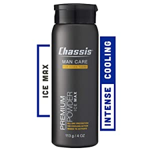 Chassis Premium Ice Max Talc-Free Body Powder for Men | All-New w/Max Cooling Sensation