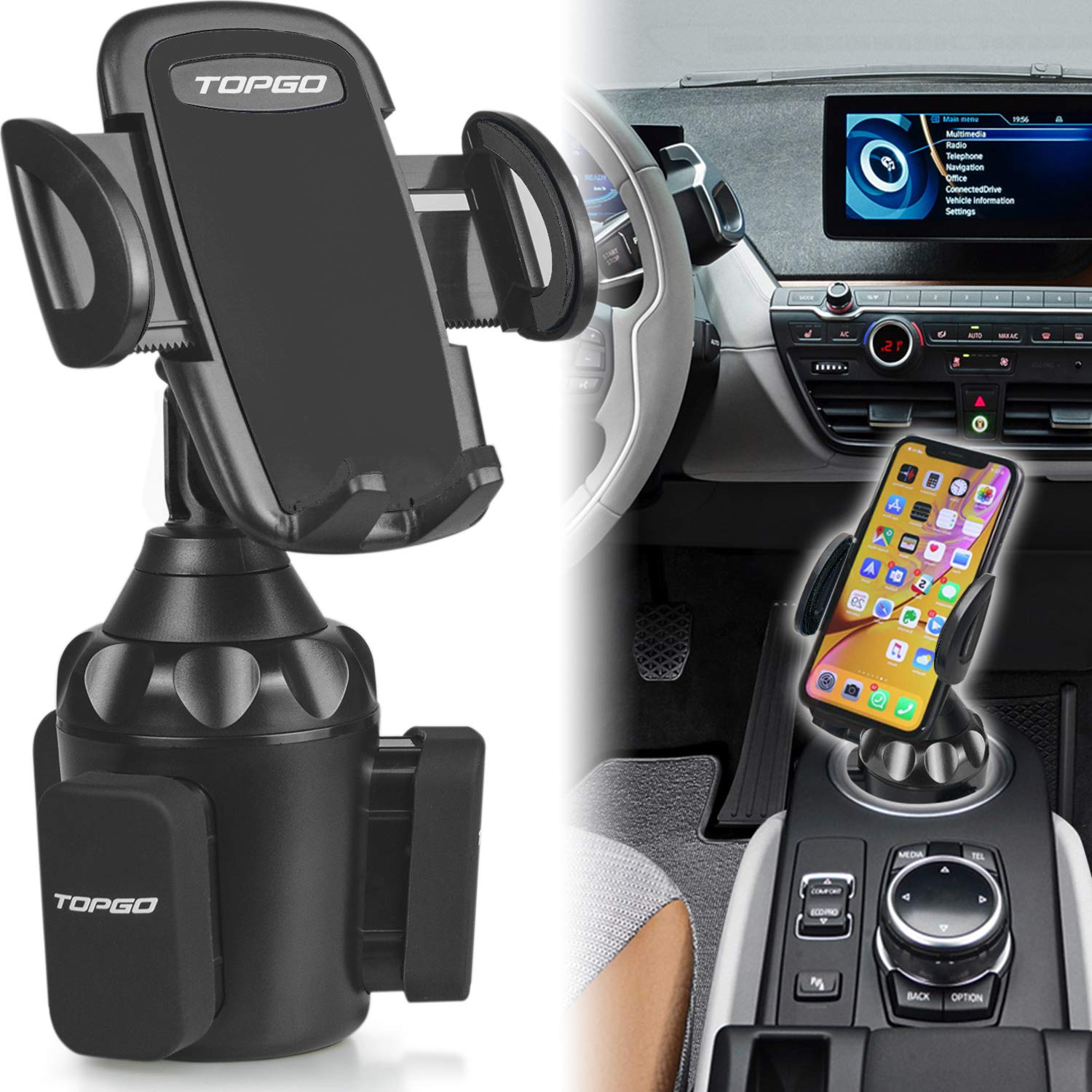 [Upgraded] Car Cup Holder Phone Mount Adjustable Automobile Cup Holder Smart Phone Cradle Car Mount for iPhone XR/XS Max/X/8/7 Plus/6s/Samsung Galaxy S10+/Note 9/S8 Plus/S7 Edge(Black) by TOPGO