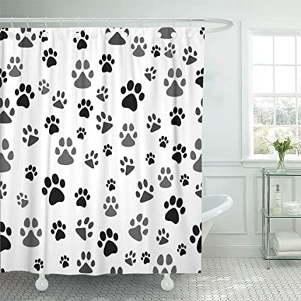 Animal Dog Paw Prints Black /& Grey Claws Polyester Fabric Shower Curtain Set 72/""